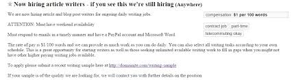 create a lance content marketing writer career lance writer job post screen capture