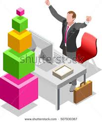 Graphic Design Office New Isometric Business Office Flat Icon Set Vector Items Chief