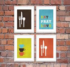 Decorations For Kitchen Walls Great And Cool Portray Hang On White Frame Attached Brick Wall As