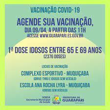 Covid-19: Prefeitura de Guarapari abre novo agendamento para vacinar idosos  de 65 a 69 anos - PREFEITURA MUNICIPAL DE GUARAPARI - ES