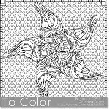Small Picture Printable Starfish Coloring Page for Adults PDF JPG
