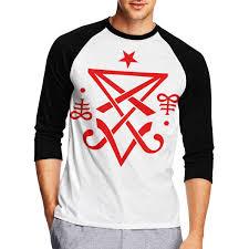 Sigil Chart Mens 3 4 Sleeve Crew Neck Basic Shirts Occult Sigil Of