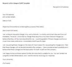 Request Letter For Change In Work Schedule Request Letter