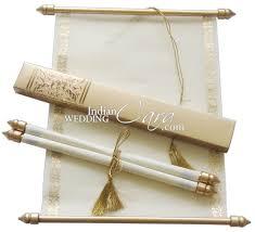Scroll Wedding Invite S865 Gold Color Shimmery Finish Paper Scroll Invitations Jewish