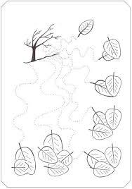 fall tree trace line worksheet wavy lines