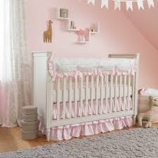 image of style pink and gray crib bedding