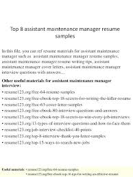 Maintenance Manager Resume Apartment Maintenance Technician Resume