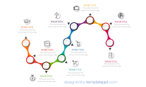 """Powerpoint Timeline Free Snake Timeline Diagram For PowerPoint Sinuous """"Sshaped"""" 24 24"""