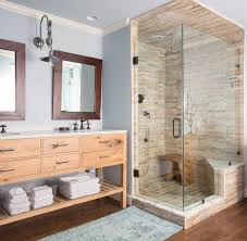 rustic wooden mirror with simple unique bath rugs for comfortable and relaxing bathroom plan