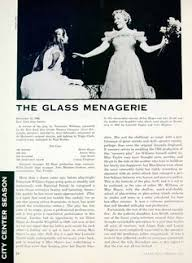 these glass animal figurines are a central symbol to the glass  1957 article the glass menagerie play review tennessee williams helen hayes yta4