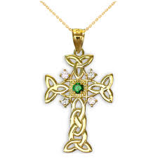 yellow gold celtic knot trinity cross diamond pendant necklace with in emerald