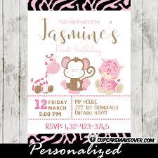 Safari Party Invitations Animal Print Pink Safari Birthday Invitation Personalized