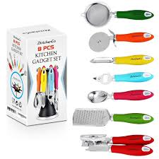 colorful kitchen utensils. Amazon.com | ZkitchenCo 8-Piece Kitchen Gadgets Utensils Cooking Tools, Stainless Steel Multi-Colored- Can Opener, Pizza Cutter, Bottle Colorful S