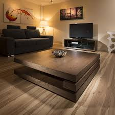 extra large modern square dark elm brown wood 1 2mt coffee table 397e