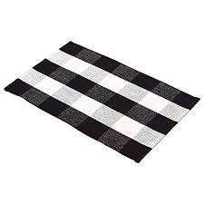 ecoshome cotton bath runner checd plaid area rug door mat for entry way washable carpet for