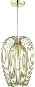 dar ero 1 lamp wire cage ceiling pendant light in gold