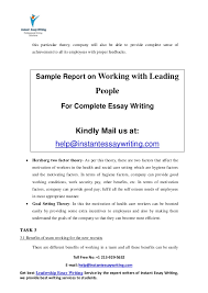 sample report on working leading people by instant essay writing 10