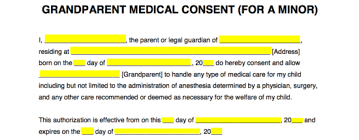 Child Medical Consent Form For Grandparents Grandparents Medical Consent Form Minor Child Eforms Free