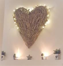 Large Wicker Heart With Lights Extra Large Wicker Heart Heart Wall Decor Wicker Hearts