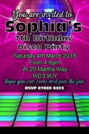 Childrens Disco Invitations Details About Personalised Childrens Kids Disco Birthday Party Invitations Invites