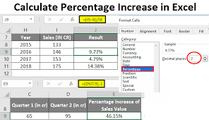 calculate percene increase in excel