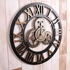 handmade oversized retro rustic decorative luxury art big gear wooden vintage large wall clock on the large gray modern wood clock pallet reclaimed wall
