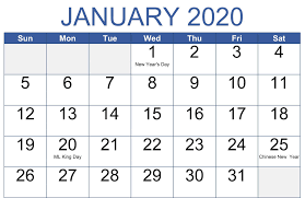 Word 2020 Calendars Cute January 2020 Calendar Word Printable Template Set