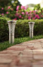 garden lighting bollards. The Stainless Steel And Beveled Glass Of These Solar-powered LED Bollards Have A Sleek Garden Lighting