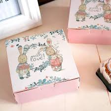 Decorative Cookie Boxes Lovely rabbit decoration square cookie box bakery package boxes 14