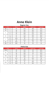 Anne Klein Clothing Size Chart Clothing Size Chart Anne