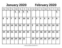 February 2020 Calendar Template Printable January And February 2020 Calendar Printable Calendar 2020