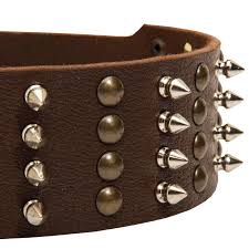 fancy extra wide leather dog collar with spikes brass pyramids rottweiler