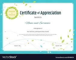 Certificate Of Appreciation Template Nature Theme