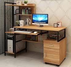 prime large multi function computer desk workstation with shelves cabinet oak
