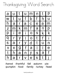 Small Picture Thanksgiving Word Search Coloring Page Twisty Noodle
