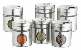home made set of  stainless steel spice jars stylish storage