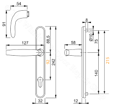 hoppe atlanta 92pz lever lever sprung handle set for upvc doors backplate length 242mm diagram