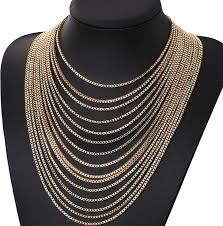 fashion cool gold multi layer chain necklace whole