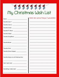 Free Christmas List Template Printable Christmas Wish List Template Form With Blank Data And 7