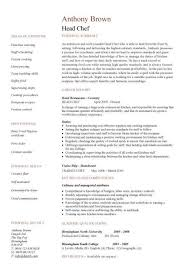 Gallery Of Head Chef Resume Templates Examples Job Description