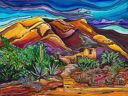 chapel painting in the hills degrazia mission in the sun by alexandria winslow