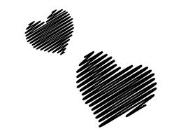 手書きのハートの白黒イラスト かわいい無料の白黒イラスト モノぽっと