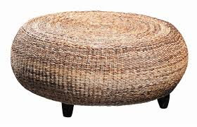 light brown round wicker rattan ottoman coffee table with dark brown laminate hardwood base and legs for simple creation small light brown round wicker