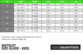 150 Cm Size Chart Needessentials Wetsuit Size Chart Thewaveshack Com