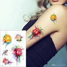 Acquista Acquerello Fiore Uccelli Tatuaggi Deisngs La Parte
