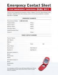 Babysitter Emergency Contact Sheet Babysitting Emergency Contact Sheet