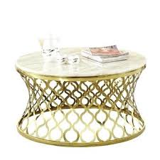 modern round marble top stainless steel gold coffee table target