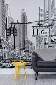 feel like you re living in a ic strip with these amazing new york city wallpaper mural taking you right in the middle of an ilrated new york city