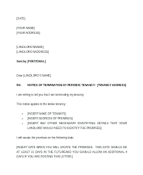 Notice To Vacate Letter Sample 30 Day Notice To Terminate Tenancy Two Weeks Tenant Notice