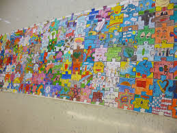 check out our latest artistic endeavor every student and staff member of the east woods school on puzzle into wall art with canvas peace project play doh dohvinci peace project design kit